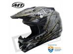 MT MX-1 Cross Helm Zwart Grijs
