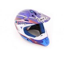 MT X-Torm Cross Helm Chrome Blauw