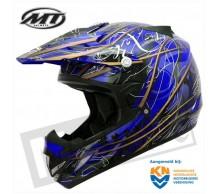 MT MX-1 Cross Helm Zwart Blauw